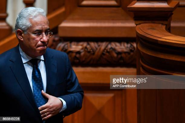 Portugal's Prime Minister Antonio Costa gestures at the end of his speech during the debate of a censure motion tabled by the conservative CDSPP...
