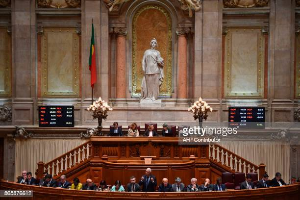 Portugal's Prime Minister Antonio Costa gives a speech during the debate of a censure motion tabled by the conservative CDSPP party at the Portuguese...