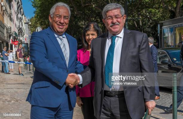 Portugal's Prime Minister Antonio Costa greets the Prime Minister of Algeria Ahmed Ouyahia upon his arrival in Palacio Foz to participate in the...