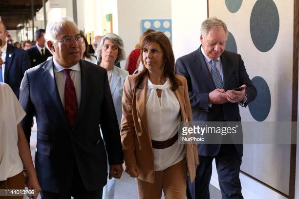 Portugal's Prime Minister Antonio Costa looks on the art pieces with his wife Fernanda Tadeu and President of the Executive Committee of Ifema,...