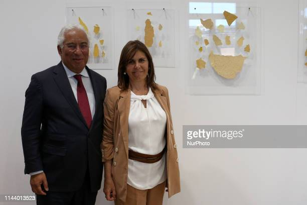 Portugal's Prime Minister Antonio Costa poses for a picture with his wife Fernanda Tadeu during the official inauguration of the International...