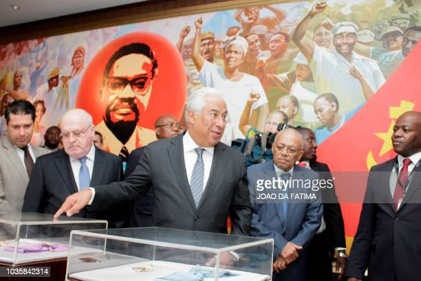 Portugal's Prime Minister Antonio Costa visits the memorial for Angola's first postindependence leader Agostinho Neto on September 18 during a state...