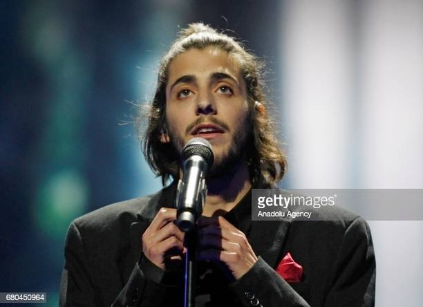 Portugal's representative for Eurovision 2017 Salvador Sobral performs on the stage during a dress rehearsal of first semifinal of the Eurovision...