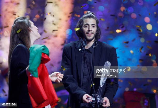 Portugal's representative for Eurovision 2017 Salvador Sobral with his sister Louise celebrate the victory during the Grand Final of the Eurovision...