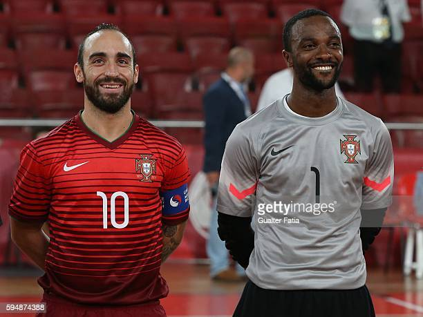 Portugal's Ricardinho with Portugal's goalkeeper Bebe before the start of the Futsal International Friendly match between Portugal and Morocco at...
