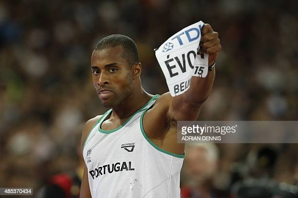 Portugal's silver medallist Nelson Evora reacts after winning second place in the final of the men's triple jump athletics event at the 2015 IAAF...