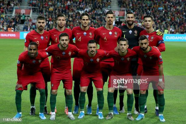 Portugal's starter team before the UEFA Euro 2020 Group B football qualification match between Portugal and Lithuania at the Algarve stadium in Faro,...