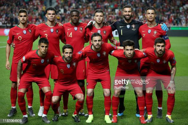 Portugal's starter team before the UEFA EURO 2020 group B qualifying football match Portugal vs Ukraine at the Luz Stadium in Lisbon Portugal on...