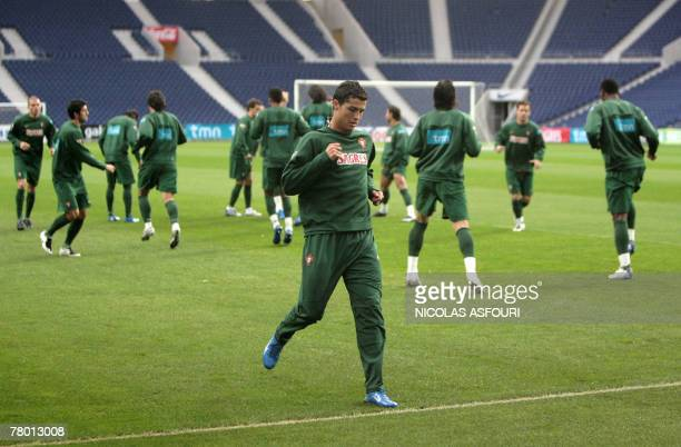 Portugal's striker Cristiano Ronaldo warms up during a training session on the eve of their EURO 2008 qualifying football match against Finland at...