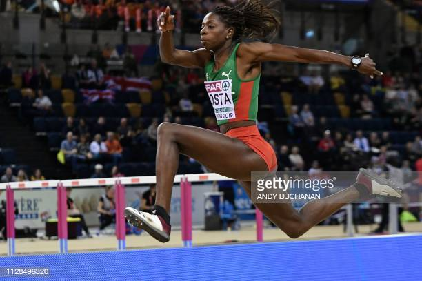 Portugal's Susana Costa competes in the womens triple jump final at the 2019 European Athletics Indoor Championships in Glasgow on March 3, 2019.
