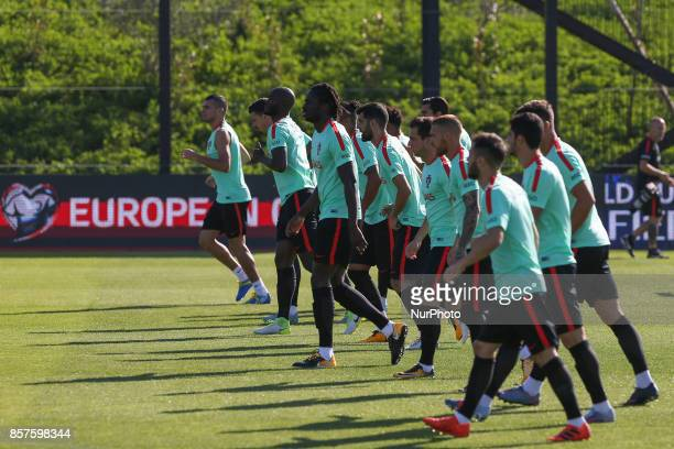Portugals tema during National Team Training session before the match between Portugal and Andorra at City Football in Oeiras Lisbon on October 4 2017
