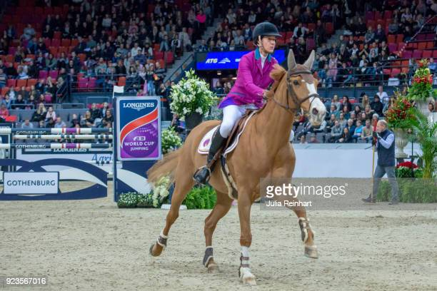 Portugese equestrian Luciana Diniz on Fit For Fun 13 rides to victory in in the qualifying competition for the Gothenburg Grand Prix during the...