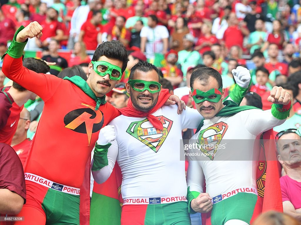 Portugese fans cheer ahead of the UEFA Euro 2016 semi final match between Portugal and Wales at Stade de Lyon in Lyon, France on July 6, 2016.
