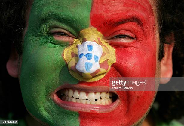 Portugese football fan at the FIFA World Cup Germany 2006 Semifinal match between Portugal and France at the Stadium Munich on July 5 2006 in Munich...