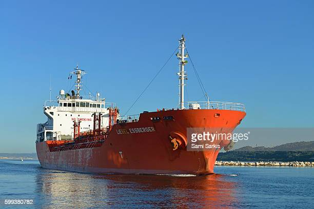 Portugese oil tanker boat sailing out to the Mediterranean sea via the Canal de Caronte, Martigues, France, Europe