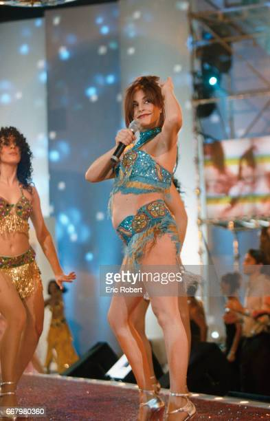 Portugese singer Lio performs on the French television show Tapis Rouge The show was hosted by popular French celebrity Michel Drucker