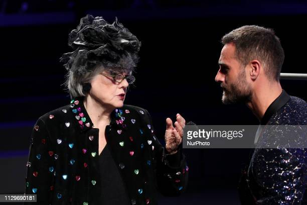 Portuguese actor Isaac Alfaiate and Paula Bobone speak at the show of the Portuguese fashion designer Nuno Gama Fall/Winter 2019/2020 collection...