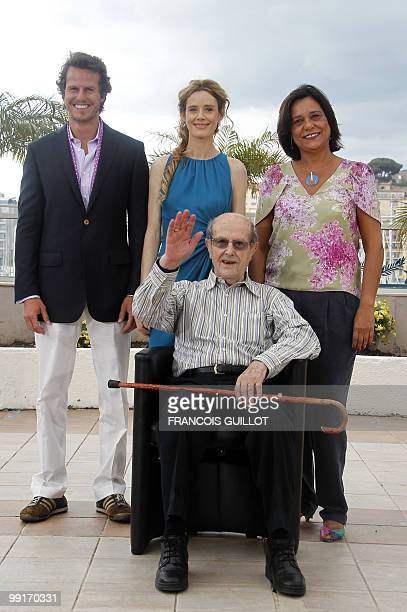 Portuguese actor Ricardo Trepa Spanish actress Pilar Lopez Portuguese actress Ana Maria Magalhaes pose with Portuguese director Manoel De Oliveira...