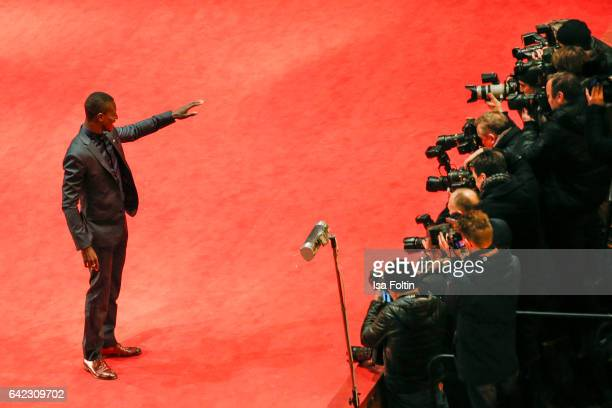 Portuguese actor Welket Bungue attends the 'Joaquim' premiere during the 67th Berlinale International Film Festival Berlin at Berlinale Palace on...