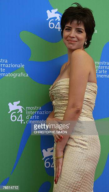 Portuguese actress Anabela Moreira poses during a photocall of 'Mal Nascida' during the 64th Venice International Film Festival at Venice Lido 05...