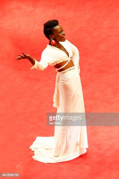 Portuguese actress Isabel Zuaa attends the 'Joaquim' premiere during the 67th Berlinale International Film Festival Berlin at Berlinale Palace on...