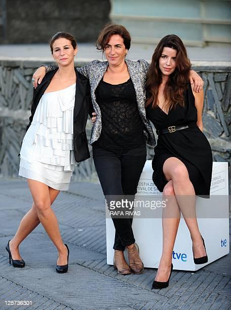 Portuguese actresses Anabela Moreira Rita Blanco and Cleia Almeida pose after the screening of Portuguese director Joao Canijo's film 'Sangue do meu...