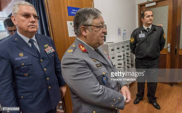 Portuguese Air Force C in C General Manuel Texeira Rolo and Chief of the General Staff of the Armed Forces General Artur Neves Pina Monteiro during...