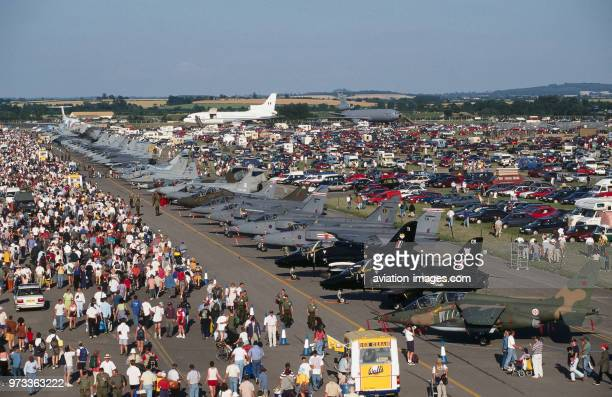 Portuguese Air Force Dassault Breguet Dornier Alpha Jet parked in a row of fighters inlcluding Royal Air Force RAF BAE Hawks and Harriers in the...