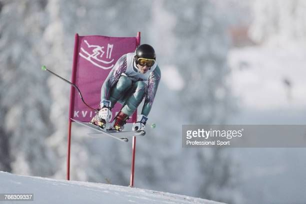 Portuguese alpine skier Georges Mendes pictured competing for the Portugal team to finish in 41st place in the Men's downhill skiing event held at...