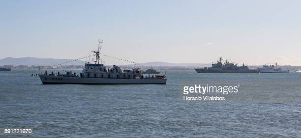 Portuguese and foreign naval units lay at anchor in the Tagus River during the commemoration day of the Portuguese Navy's 700th anniversary on...