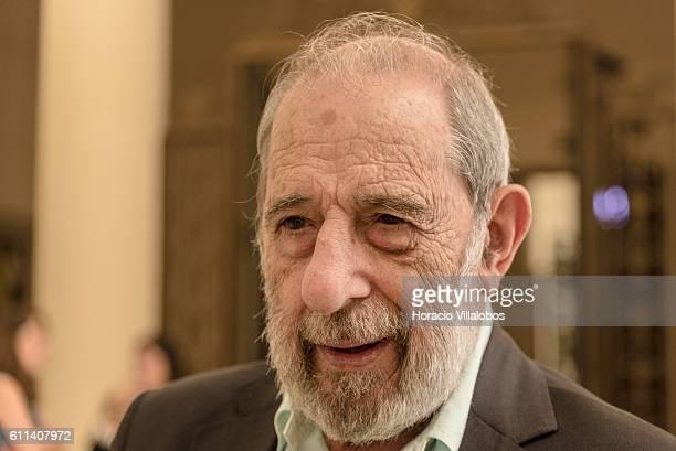 Portuguese architect Alvaro Siza Vieira responsible for the exhibition's architectural design of Joan Miro exhibition talks to a journalist in Casa...
