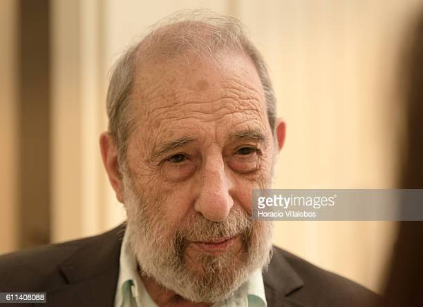 Portuguese architect Alvaro Siza Vieira responsible for the exhibition's architectural design of Joan Miro exhibition talks to a journalist in Casa...