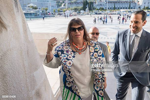 Portuguese artist Joana Vasconcelos arrives in the Padrao dos Descobrimentos to participate in the public presentation of WindArt a project aiming to...