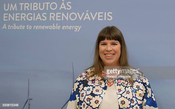 Portuguese artist Joana Vasconcelos at the Padrao dos Descobrimentos during the public presentation of WindArt a project aiming to 'cross wind power...