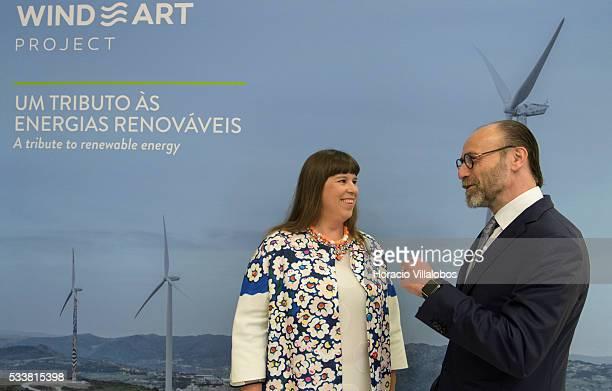Portuguese artist Joana Vasconcelos at the Padrao dos Descobrimentos with Carlos Gomes da Silva vicechairman of the Board of Directors and Chief...
