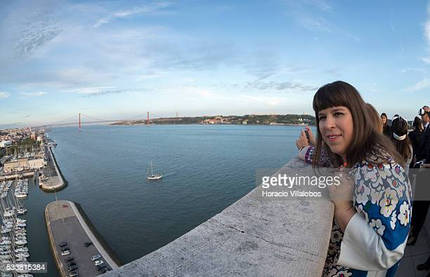 Portuguese artist Joana Vasconcelos contemplates the city from the top of the Padrao dos Descobrimentos during the public presentation of WindArt a...