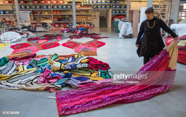 Portuguese artist Joana Vasconcelos shows her work to journalists under construction Valkyrie during the press conference to announce Vasconcelos'...
