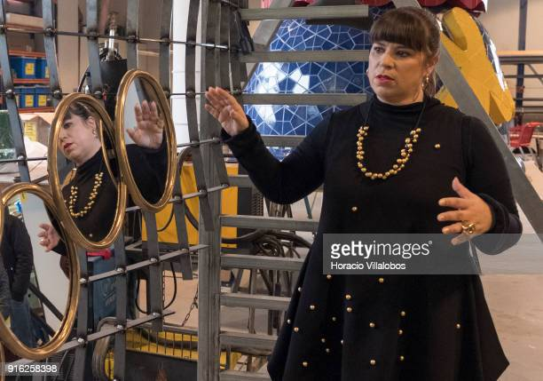 Portuguese artist Joana Vasconcelos shows her work to journalists under construction I'm Your Mirror during the press conference to announce...