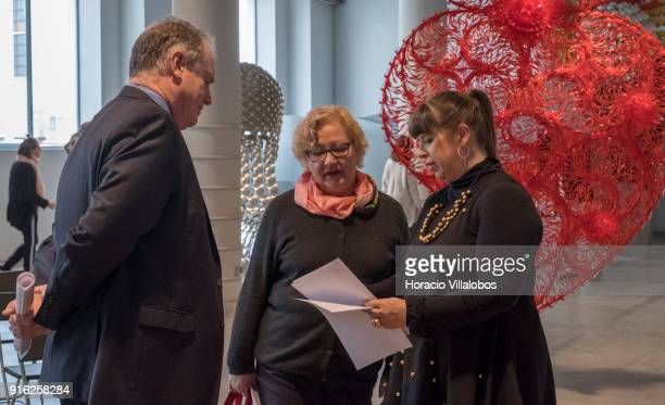 Portuguese artist Joana Vasconcelos talks to curators Petra Joos and Enrique Juncosa during the press conference to announce Vasconcelos' solo...