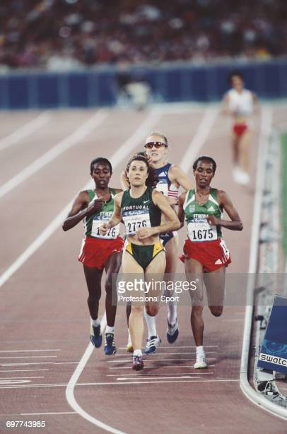 Portuguese bronze medal winning athlete Fernanda Ribeiro leads eventual Ethiopian gold and silver medal winning athletes Derartu Tulu and Gete Wami...