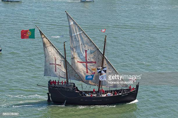 Portuguese caravel Vera Cruz one of the sailing ships participating on the Tall Ships Races 2016 sets sail on the way to Cadiz Spain on July 25 2016...