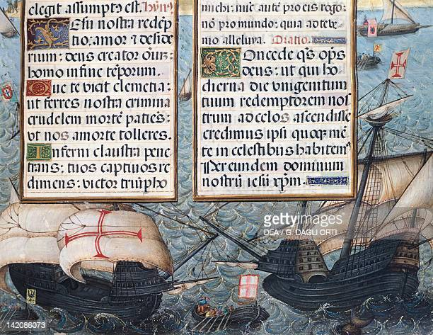 Portuguese caravels miniature from Book of Hours of the Duchess of Burgundy manuscript France 16th Century