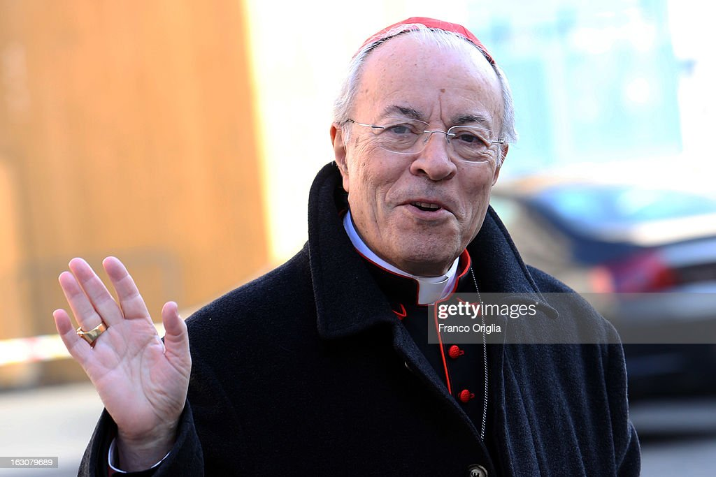Portuguese cardinal Manuel Monteiro de Castro arrives at the Paul VI hall for the opening of the Cardinals' Congregations on March 4, 2013 in Vatican City, Vatican. The congregations of cardinals will continue until all cardinal electors have arrived in Rome, whereupon the College will decide on the start-date of the Conclave to elect a new Pope.
