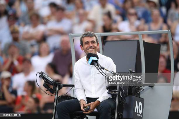 Portuguese chair umpire, Carlos Ramos looks on Rod Laver Arena during the first round match between Novak Djokovic of Serbia and Mitchell Krueger of...