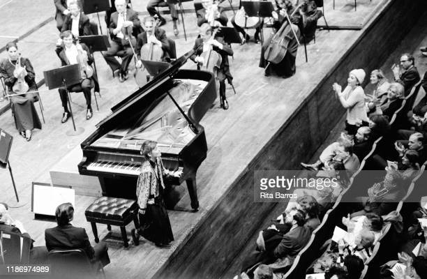 Portuguese Classical musician Maria Joao Pires takes a bow during a performance at Avery Fisher Hall New York New York January 19 1988