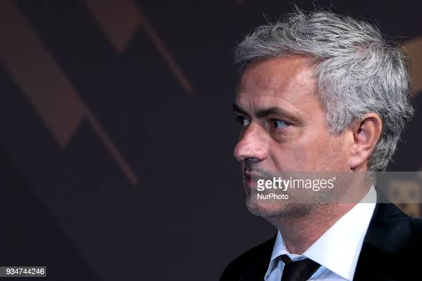 Portuguese coach Jose Mourinho poses at 'Quinas de Ouro' ceremony held at Pavilhao Carlos Lopes in Lisbon on March 19 2018