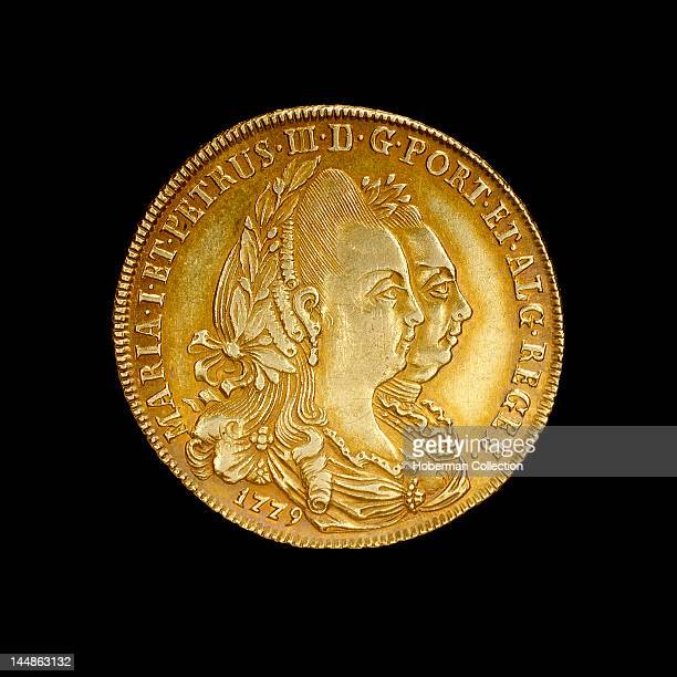 Portuguese Coin Depicting Queen Maria I and Her King Consort Pedro III 17771786 AD