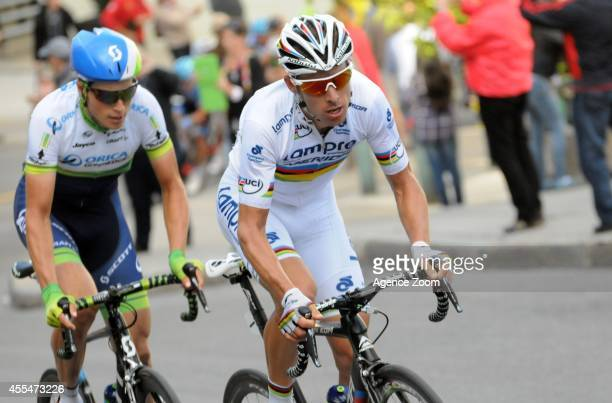 Portuguese cyclist Rui Alberto Costa of Team LampreMerida during the UCI World Tour's Grand Prix Cycliste de Quebec on September 12 2014 in Quebec...