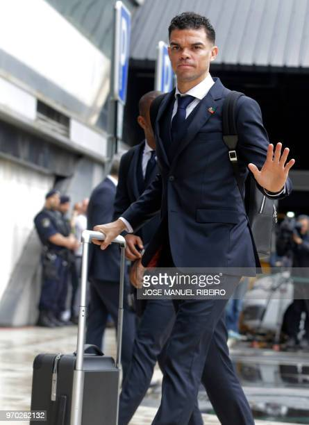 Portuguese defender Pepe arrives at Humberto Delgado´s airport in Lisbon on June 9 2018 to travel for the Russia 2018 World Cup