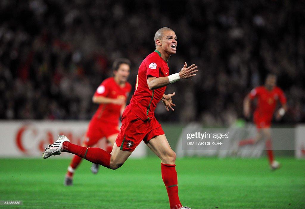 Portuguese defender Pepe celebrates afte : News Photo